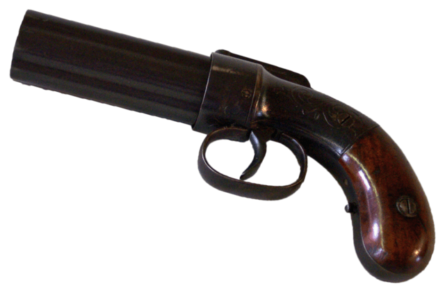 Six-barreled pepperbox of the Fort Union's hunters with trigger guard