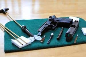 pistol dissambled for cleaning